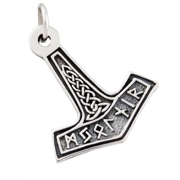 Thorshammer mit Runen, Anhänger Silber 925
