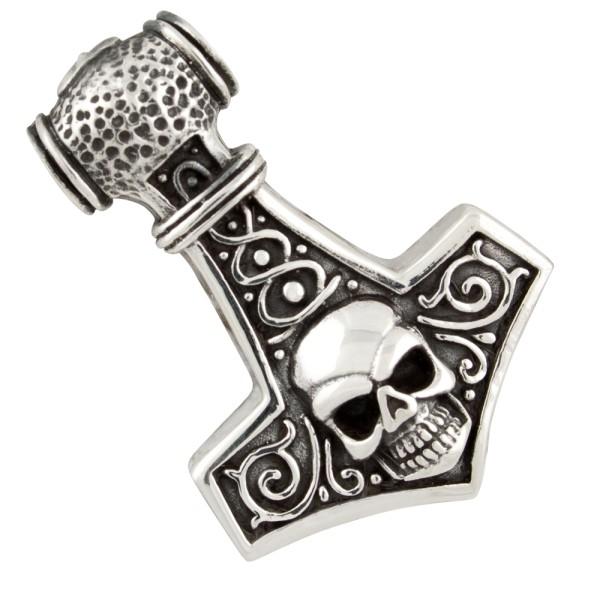 Thorshammer mit Skull, Anhänger Silber 925