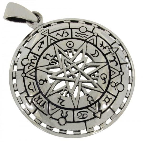 Pentagramm mit Tierkreiszeichen Anhänger Silber 925