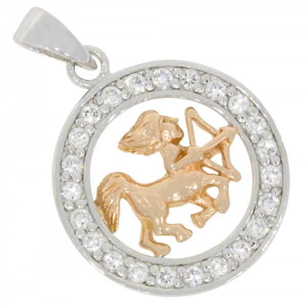 Tierkreiszeichen Sternzeichen Schütze, Anhänger Silber 925, rosévergoldet
