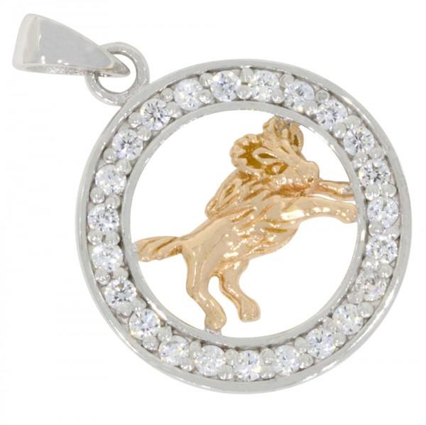 Tierkreiszeichen Sternzeichen Widder, Anhänger Silber 925, rosévergoldet