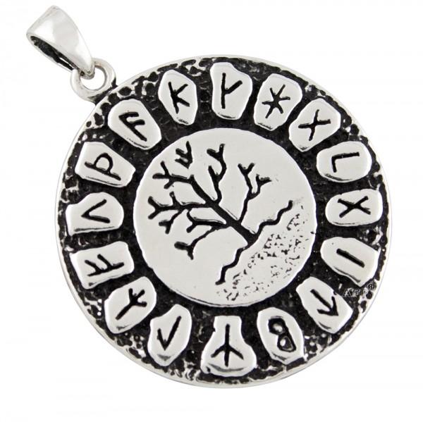 Lebensbaum mit Runen, Anhänger Silber 925