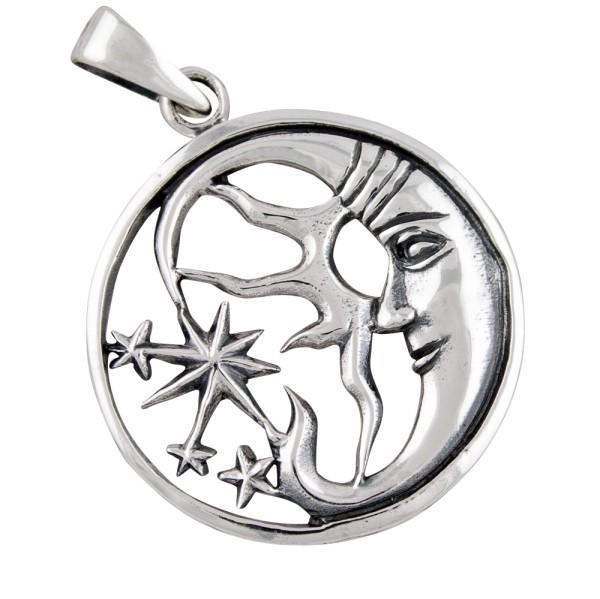 Mond und Sterne Anhänger Silber 925