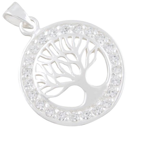 Lebensbaum mit gefassten Zirkonia Anhänger Silber 925