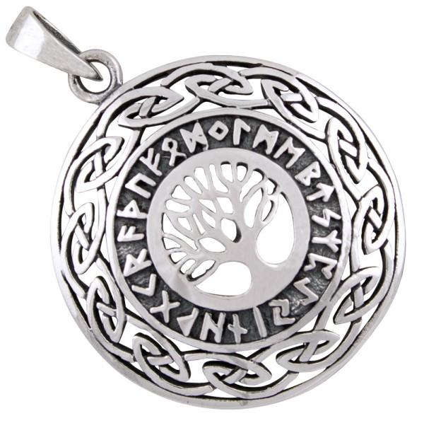 Lebensbaum mit Runen Anhänger Silber 925