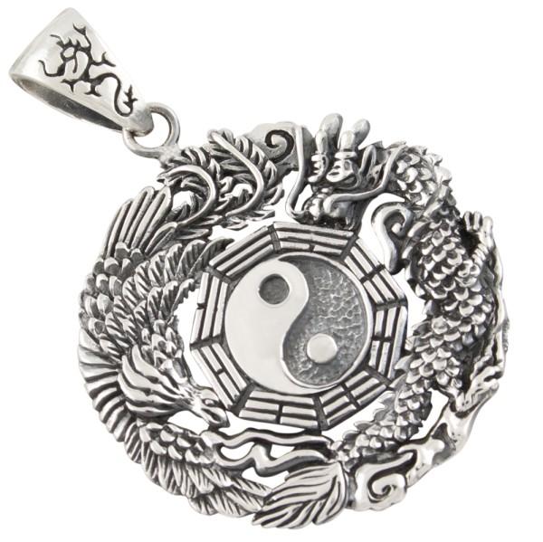 Yin Yang mit Drachen und Phönix Anhänger Silber 925
