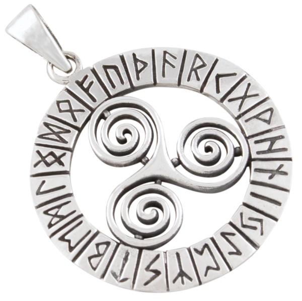 Triskele mit Runen Anhänger Silber 925