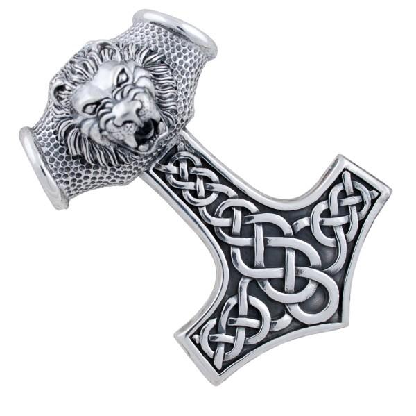 Thorshammer mit Löwenkopf, großer Anhänger Silber 925