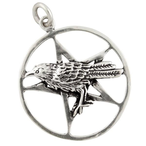 Pentagramm mit Raben, Anhänger Silber 925