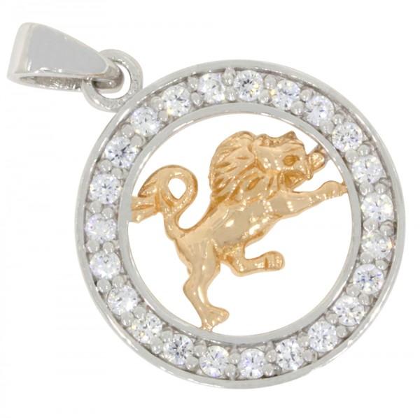 Tierkreiszeichen Sternzeichen Löwe, Anhänger Silber 925, rosévergoldet