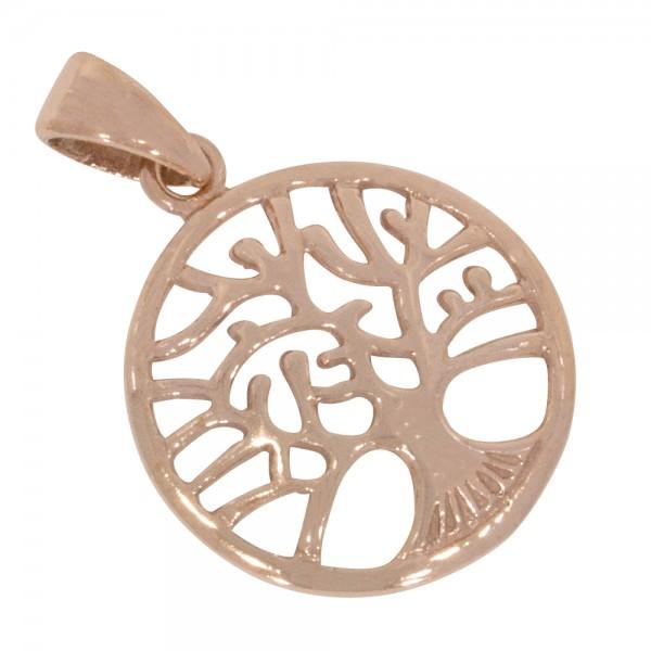 Lebensbaum, Yggdrasil, kleiner Anhänger Silber 925 rosévergoldet