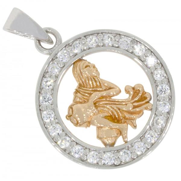 Tierkreiszeichen Sternzeichen Wassermann, Anhänger Silber 925, rosévergoldet