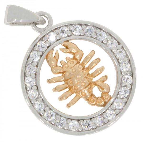 Tierkreiszeichen Sternzeichen Skorpion, Anhänger Silber 925, rosévergoldet