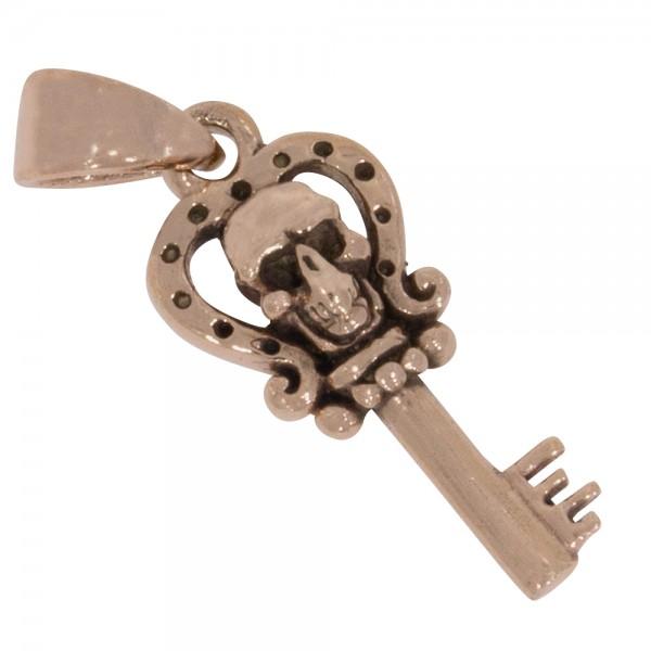 Schlüssel Skull Anhänger Silber 925 rosévergoldet