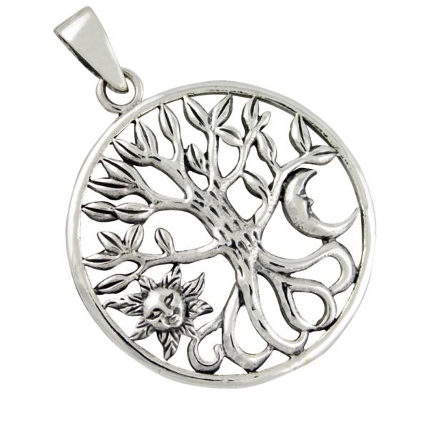 Lebensbaum mit Sonne und Mond, Anhänger Silber 925