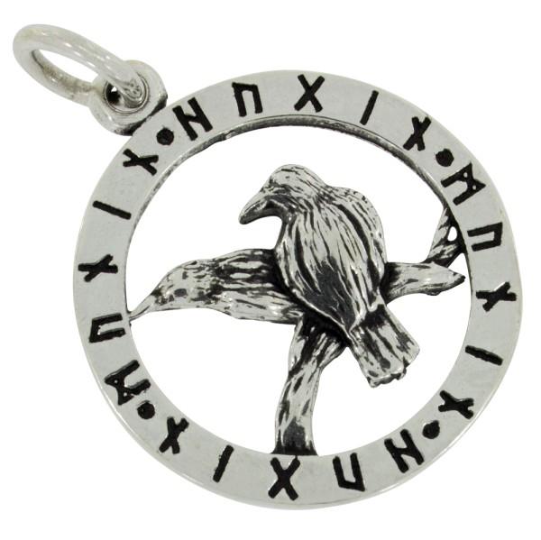 Odins Raben mit Runen, Anhänger Silber 925