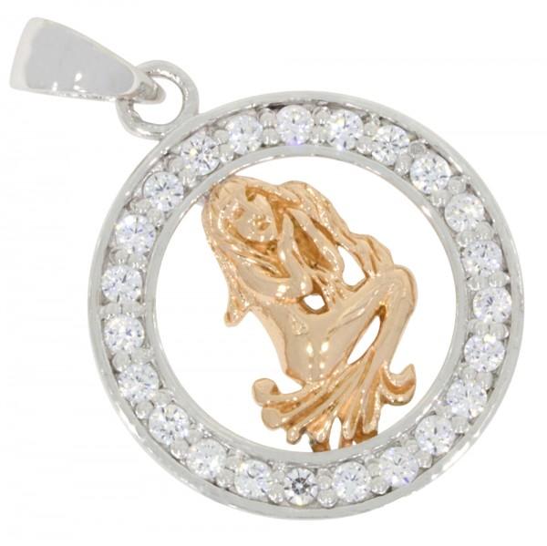Tierkreiszeichen Sternzeichen Jungfrau, Anhänger Silber 925, rosévergoldet