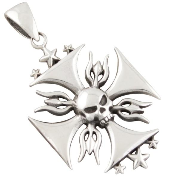 Eisernes Kreuz mit Skull, Anhänger Silber 925