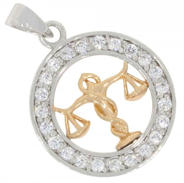 Tierkreiszeichen Sternzeichen Waage, Anhänger Silber 925, rosévergoldet