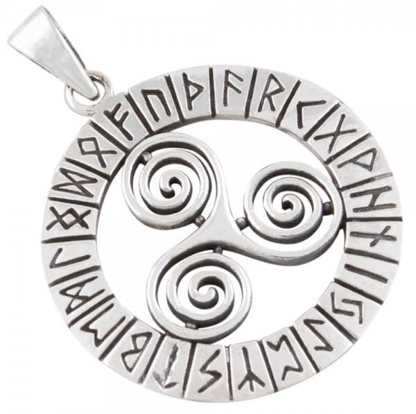 Triskele mit Runen, Anhänger Silber 925