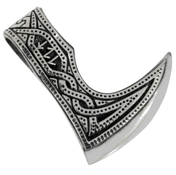 Wikinger Axt mit Runen, Anhänger Silber 925