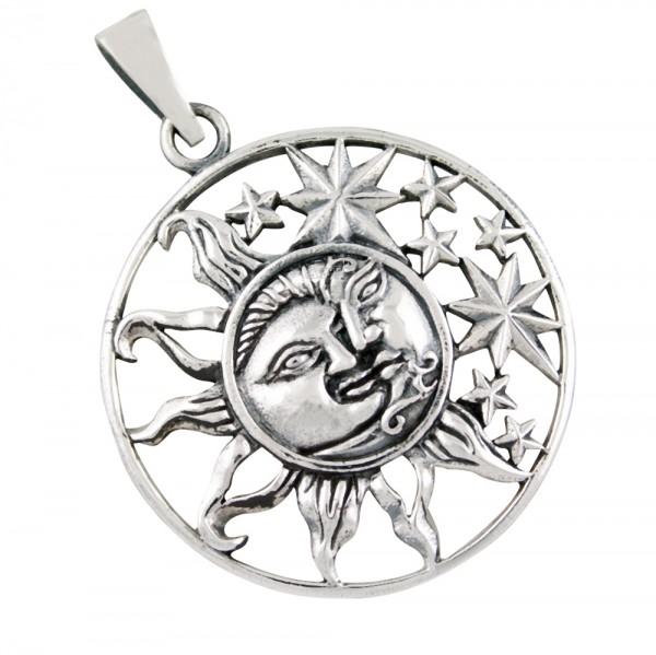 Sonne Mond und Sterne, Anhänger Silber 925