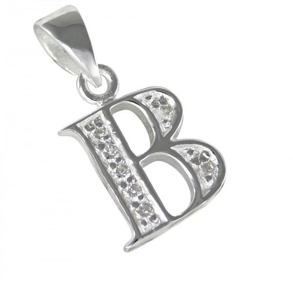 Buchstabe B, Silberanhänger mit Zirkonia