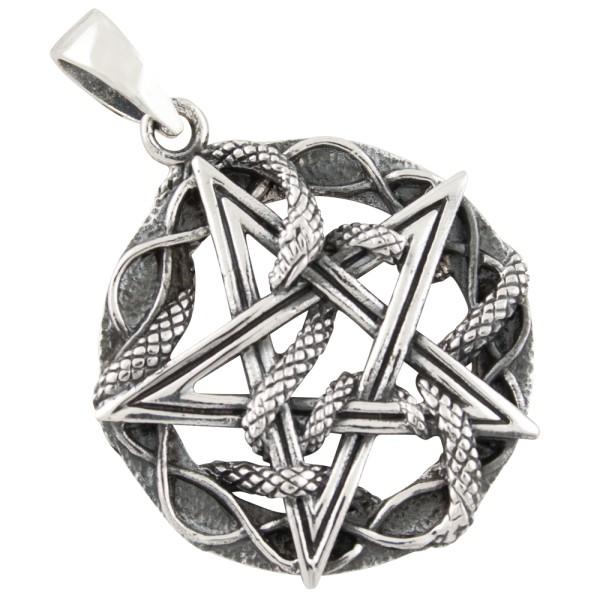 Pentagramm Schlange Anhänger Silber 925