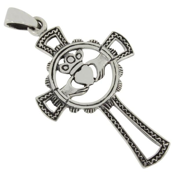 Claddagh Kreuz Anhänger Silber 925