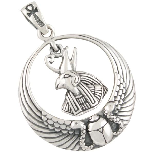 Horus mit Scarabaeus und Ankh Anhänger Silber 925