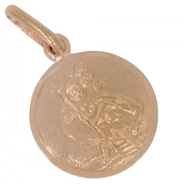 Christophorus Anhänger Silber 925 rosévergoldet